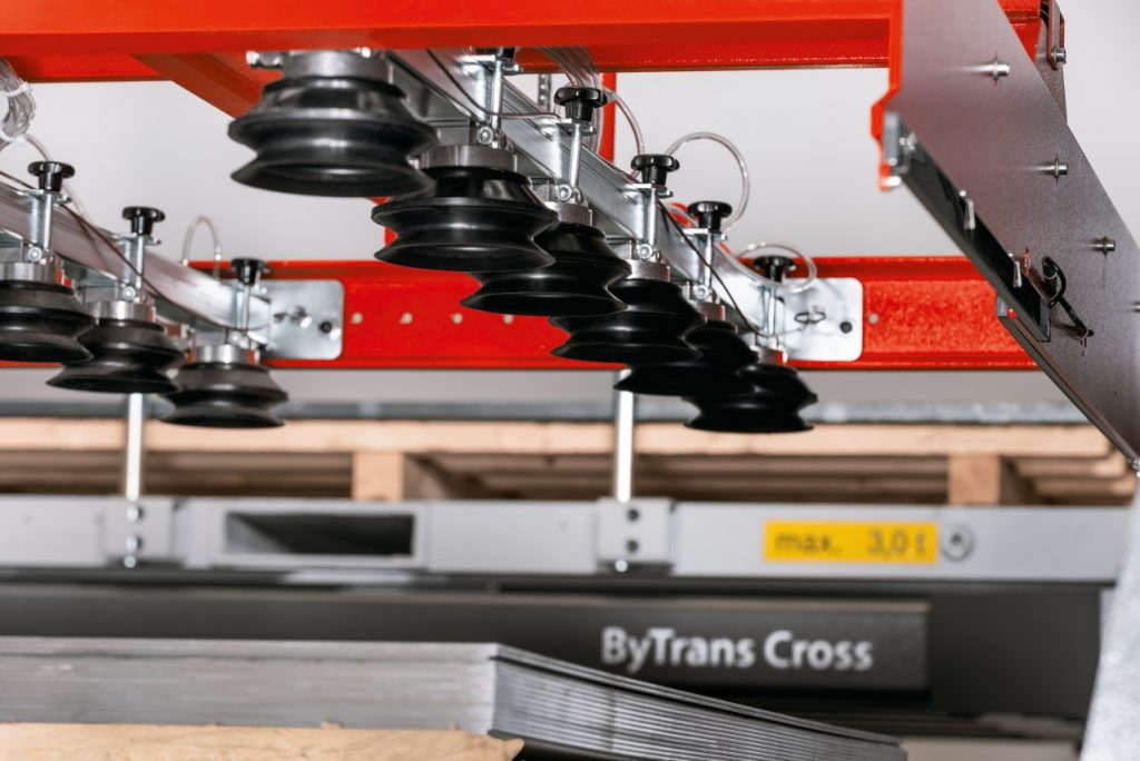 Bystronic ByTrans Cross material handling system for Fiber laser cutting machines